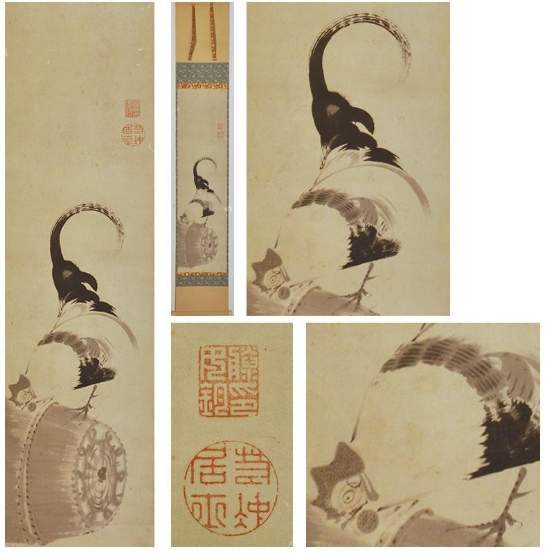 「米俵に鶏図」