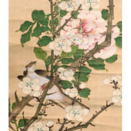 「薔薇・白梅に小禽図」